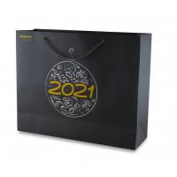 Новогодний подарочный пакет черный матовый