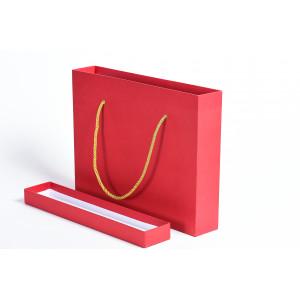 Узкая коробка крышка-дно с ручками