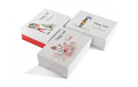 Набор ярких новогодних подарочных коробок с цветной печатью. Благодаря этому они походят на настоящие открытки!